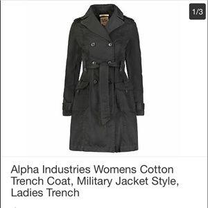 Vintage ALPHA INDUSTRIES BLACK TRENCH